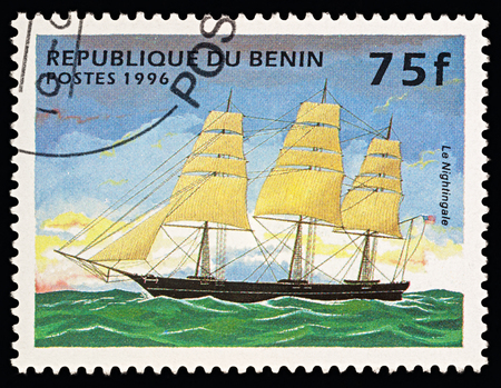 Moscow, Russia - March 06, 2018: A stamp printed in Benin shows american sailing ship (Clipper) Nightingale (launched in 1851), series Ships, circa 1996 Editorial