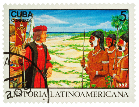 Moscow, Russia - March 06, 2018: A stamp printed in Cuba shows Columbuss meeting natives in New World (1492), series Latin american history, circa 1992 Editorial
