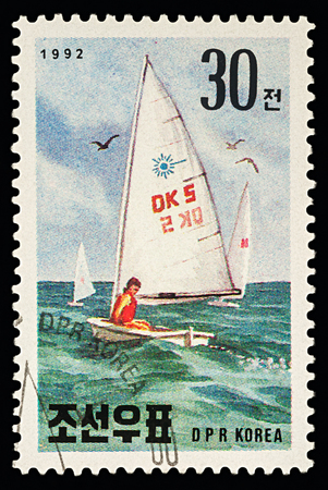 Moscow, Russia - March 07, 2018: A stamp printed in DPRK (North Korea) shows sailboat, series