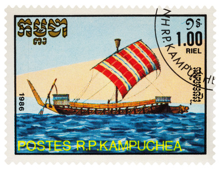 Moscow, Russia - March 18, 2018: A stamp printed in Cambodia shows ancient sailing ship galley, series Old Sailing Ships, circa 1986