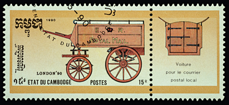 Moscow, Russia - March 15, 2018: A stamp printed in Cambodia shows old stagecoach, series Royal Mail Horse-drawn Transport, circa 1990