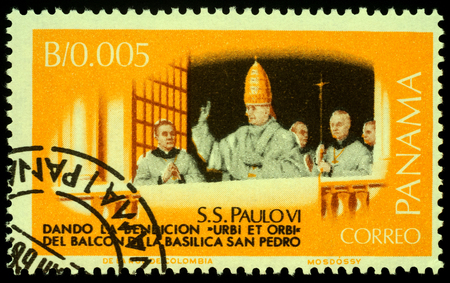 Moscow, Russia - November 25, 2019: Stamp printed in Panama, shows Pope Paul VI, giving the blessing Urbi et orbi from balcony of Basilica San Pedro, circa 1966 Publikacyjne