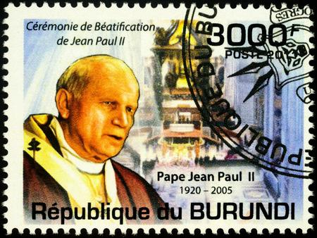 Moscow, Russia - November 25, 2019: stamp printed in Burundi, shows portrait of Pope John Paul II, dedicated to Beatification of Pope John Paul II (1920-2005), circa 2011