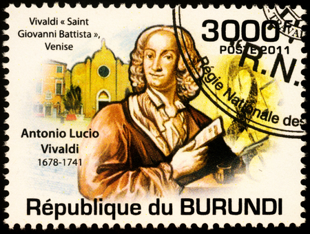 Moscow, Russia - November 17, 2019: stamp printed in Burundi shows Antonio Lucio Vivaldi (1678-1741), Italian Baroque musical composer, virtuoso violinist, teacher, and priest, circa 2011