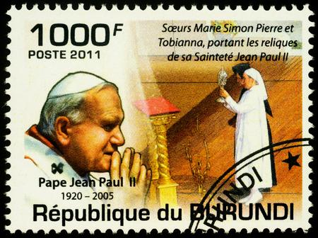 Moscow, Russia - November 26, 2019: stamp printed in Burundi, shows portrait of Pope John Paul II, dedicated to Beatification of Pope John Paul II (1920-2005), circa 2011