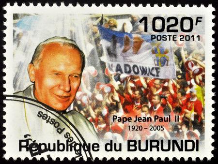 Moscow, Russia - November 25, 2019: stamp printed in Burundi, shows portrait of Pope John Paul II, dedicated to the Beatification of Pope John Paul II (1920-2005), circa 2011 Publikacyjne