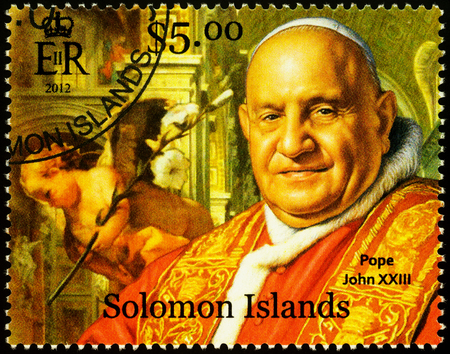 Moscow, Russia - November 26, 2019: Stamp printed in Solomon Islands, shows portrait of Pope John XXIII, dedicated to the 50th Anniversary of Second Vatican Council, circa 2012 Publikacyjne