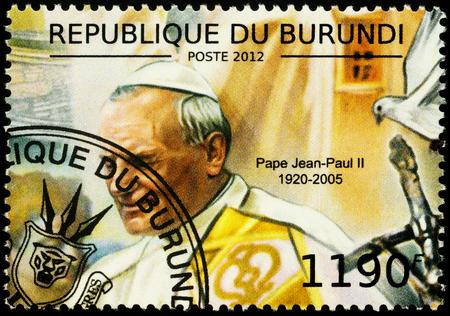 Moscow, Russia - November 26, 2019: Stamp printed in Burundi, shows portrait of Pope John Paul II (1920-2005), circa 2012
