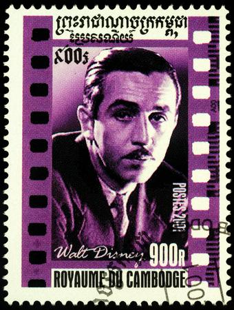 Moscow, Russia - November 11, 2019: stamp printed in Cambodia shows Walter Elias Disney (1901-1966), American entrepreneur, animator, voice actor and film producer, creator of Disneyland, circa 2001