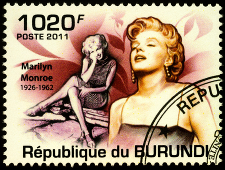 Moscow, Russia - November 08, 2019: stamp printed in Burundi shows portrait of Marilyn Monroe (1926-1962) - famous American actress, model, and singer, circa 2011 Redakční