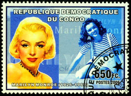 Moscow, Russia - November 12, 2019: stamp printed in Congo shows portrait of Marilyn Monroe (1926-1962) - American actress, model, and singer, circa 2006