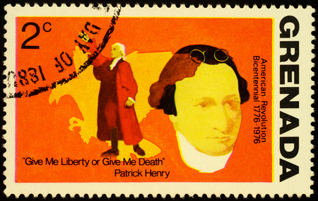 Moscow, Russia - October 27, 2019: stamp printed in Grenada shows portrait of Patrick Henry (1736-1799), american founding father, 1st & 6th Governor of Virginia, circa 1976 Redactioneel
