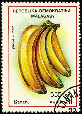 Moscow, Russia - January 15, 2020: stamp printed in Madagascar shows banana, series
