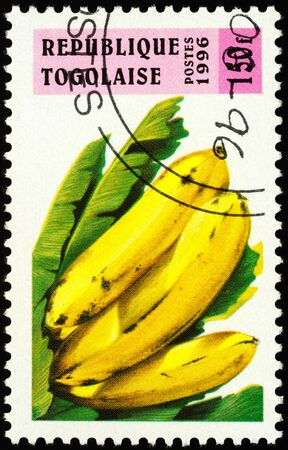 Moscow, Russia - January 14, 2020: stamp printed in Togo shows banana, series Fruits, circa 1996