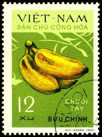 Moscow, Russia - January 17, 2020: stamp printed in Vietnam shows bananas, series Bananas, circa 1970 Publikacyjne
