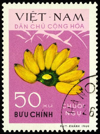 Moscow, Russia - January 17, 2020: stamp printed in Vietnam shows banana fruits, series
