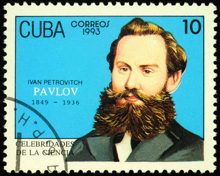 Moscow, Russia - February 24, 2020: stamp printed in Cuba, shows Ivan Petrovich Pavlov (1849-1936), Russian physiologist, Nobel Laureate in Physiology or Medicine (1904), circa 1993