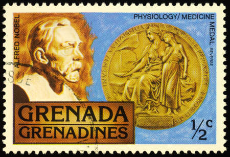 Moscow, Russia - February 25, 2020: stamp printed in Grenada, shows Portrait of Alfred Nobel (1833-1896) and Nobel Medal in Physiology or Medicine, series Nobel Prize Awards, circa 1978 Editorial