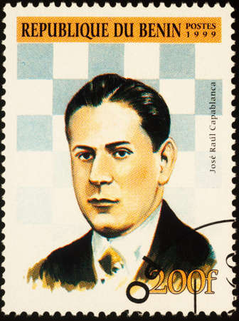 Moscow, Russia - September 19, 2020: stamp printed in Benin shows portrait of Jose Raul Capablanca (1888-1942), Cuban chess master, world chess champion (1921-1927), circa 1999
