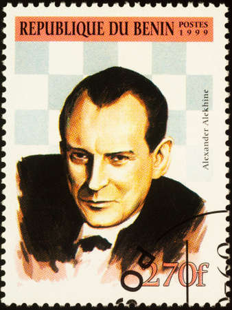 Moscow, Russia - September 19, 2020: stamp printed in Benin shows portrait of Alexander Alekhine (1892-1946), Russian and French chess player, fourth World Chess Champion, circa 1999