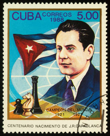 Moscow, Russia - September 18, 2020: stamp printed in Cuba shows Jose Raul Capablanca, Cuban chess player, world chess champion (1921-1927), circa 1988