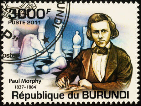 Moscow, Russia - September 20, 2020: stamp printed in Burundi shows Paul Morphy (1837-1884), greatest American chess master, unofficial second World Chess Champion, series Chess Masters, circa 2011
