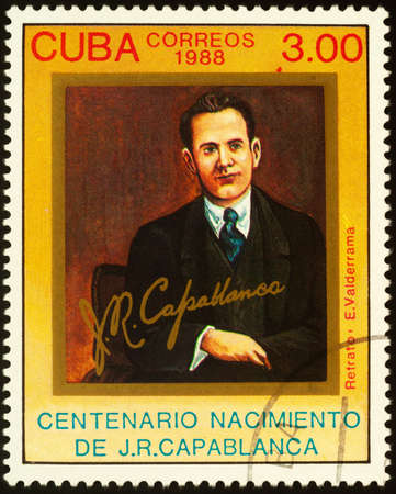 Moscow, Russia - September 18, 2020: stamp printed in Cuba shows Jose Raul Capablanca (1888-1942), Cuban chess player, world chess champion (1921-1927), circa 1988