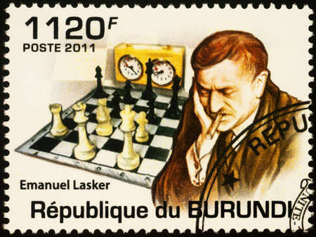 Moscow, Russia - September 19, 2020: stamp printed in Burundi shows portrait of Emanuel Lasker (1868-1941), German chess player, world chess champion (1894-1921), series Chess Masters, circa 2011