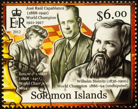 Moscow, Russia - September 19, 2020: stamp printed in Solomon Islands shows World chess champions - Emanuel Lasker, Jose Raul Capablanca, Wilhelm Steinitz, series History of Chess, circa 2012