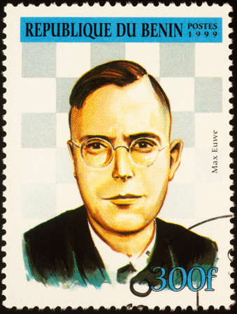 Moscow, Russia - September 19, 2020: stamp printed in Benin shows Max Euwe (1901-1981), Dutch chess grandmaster, mathematician, World chess champion (1935-1937), President of FIDE, circa 1999