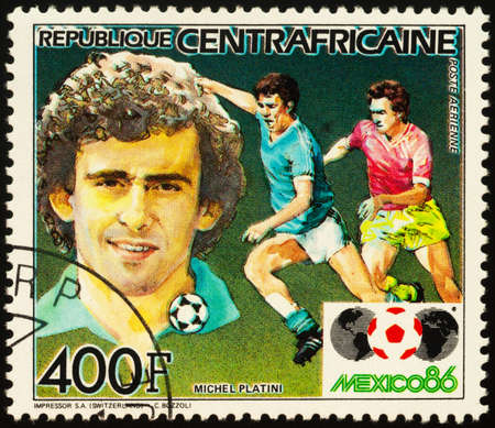 Moscow, Russia - September 21, 2020: stamp printed in Central African Republic shows portrait of French football player Michel Platini, series Football World Cup - Mexico 1986, circa 1985