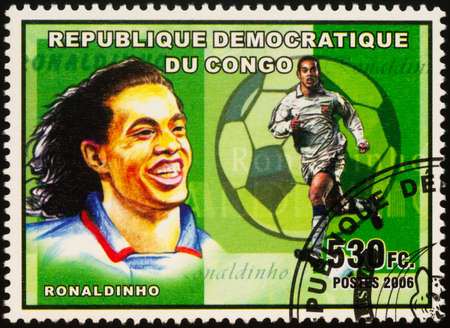 Moscow, Russia - September 21, 2020: stamp printed in Congo shows portrait of Brazilian football player Ronaldinho, circa 2006 Editorial