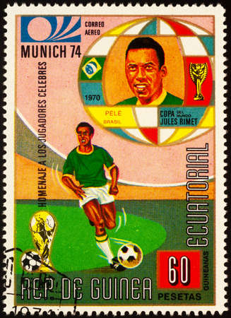 Moscow, Russia - September 24, 2020: stamp printed in Equatorial Guinea shows famous Brazilian footballer Pele, the greatest player of all time, series Personalities - Football Players, circa 1973