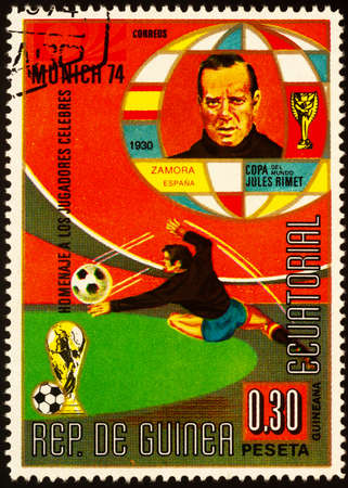 Moscow, Russia - September 24, 2020: stamp printed in Equatorial Guinea shows Ricardo Zamora Martinez (1901-1978), famous Spanish footballer, best goalkeeper in history of Spain, circa 1973