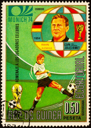 Moscow, Russia - September 23, 2020: stamp printed in Equatorial Guinea shows German football player Helmut Rahn, 1954 world champion, series Football World Cup, circa 1973 Editorial