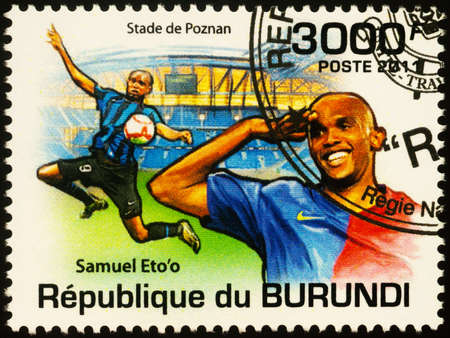 Moscow, Russia - September 23, 2020: stamp printed in Burundi shows Cameroonian footballer Samuel Eto'o, great African player, series Personalities - Football Players, circa 2011 Editorial