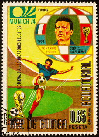 Moscow, Russia - September 23, 2020: stamp printed in Equatorial Guinea shows French footballer Just Louis Fontaine, 1958 World Cup top scorer, series Personalities - Football Players, circa 1973 Editorial