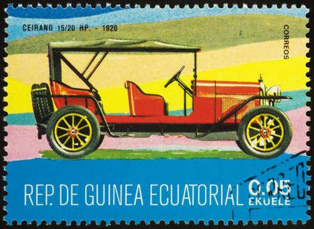Moscow, Russia - September 07, 2020: stamp printed in Equatorial Guinea shows retro car Ceirano 15/20 HP (1920), circa 1977
