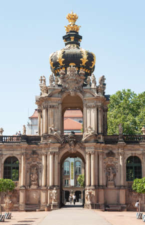 Dresden, Germany - July 26, 2019: The crown gate in Zwinger, palatial complex in Dresden. Sunny summer day.