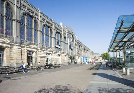 Dresden, Germany - July 26, 2019: Train station in Dresden (Neustadt) with bicycle parking on sunny summer morning