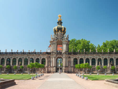 Dresden, Germany - July 26, 2019: Crown gate with long galleries in Zwinger, palatial complex in Dresden Editorial