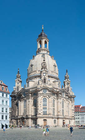 Dresden, Germany - July 26, 2019: Church of Our Lady in Dresden city, Germany. Sunny summer day.