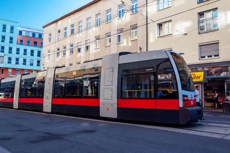 Vienna, Austria - August 01, 2019: Modern tram on the street in Vienna