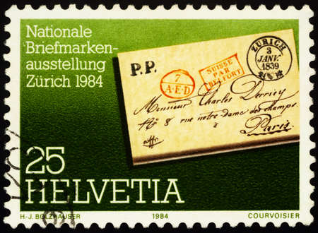 Moscow, Russia - January 31, 2021: stamp printed in Switzerland shows Pre-philatelistic letter, series National Philatelic Exhibition NABA ZURI 84, Zurich, circa 1984