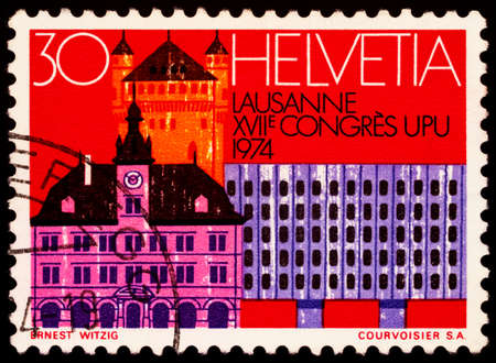 Moscow, Russia - February 19, 2021: stamp printed in Switzerland shows Architecture of Lausanne, Switzerland, series Universal Postal Union Congress, Lausanne, circa 1974