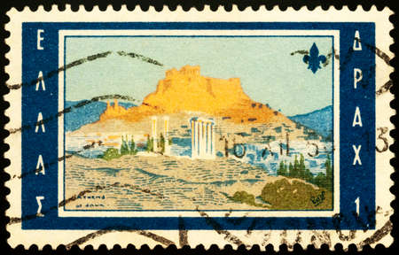Moscow, Russia - February 24, 2021: stamp printed in Greece shows picture Athens at dawn by Lord Baden-Powell, dedicated to the 11th World Scout Jamboree, Marathon, circa 1963 Editorial