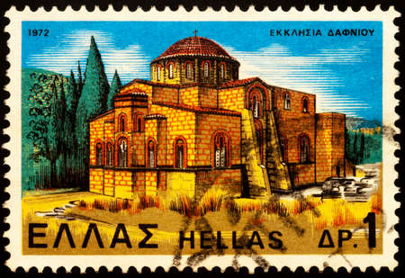 Moscow, Russia - February 25, 2021: stamp printed in Greece shows ancient Daphni Church, Byzantine monastery in Attica, Greece, series Monasteries and Churches, circa 1972