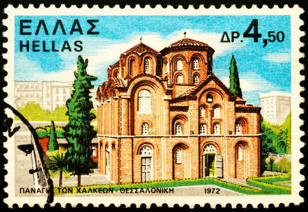 Moscow, Russia - February 26, 2021: stamp printed in Greece shows Byzantine Church of Panagia Chalkeon (11th century), Thessaloniki, Greece, series Monasteries and Churches, circa 1972