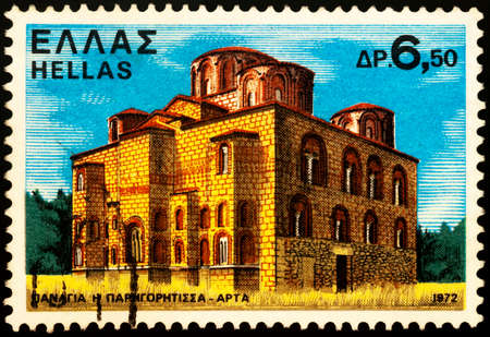 Moscow, Russia - February 26, 2021: stamp printed in Greece shows Byzantine Church of Parigoritissa (13th century), Arta, Epirus, Greece, series Monasteries and Churches, circa 1972
