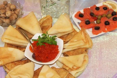 Pannenkoeken en rode kaviaar